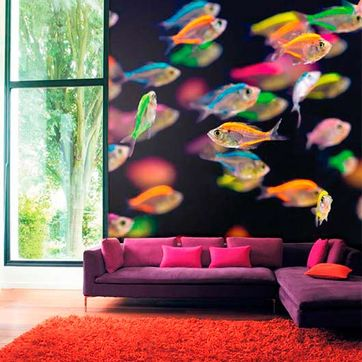 Decoración Alonso papel con peces de colores